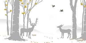Одноцветные фигуры оленей и деревьев