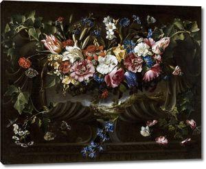 Хуан де Арельяно. Гирлянда из цветов на картуше с пейзажем, 1652