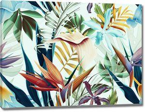 Бесшовный тропический цветочный фон