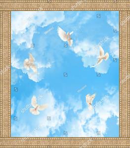 Пять голубей в небе с орнаментом по периметру