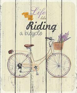 велосипедов с лавандой в корзине. постер в винтажном стиле.