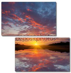 Красивый закат на озере