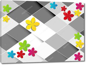 Белые и серые ромбы, разноцветные бумажные цветы