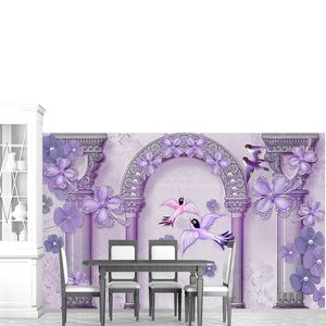 Сиреневая арка и колонны, абстрактные цветы и птицы