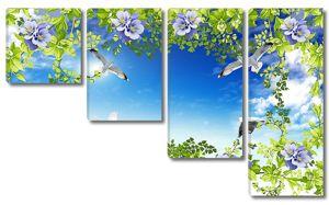 Небо с чайками сквозь заросли цветов