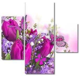 голубые тюльпаны мимозы