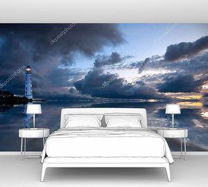 Ночной морской пейзаж с маяком