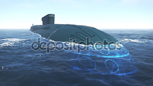Плавающие российской подводной лодки крупным планом
