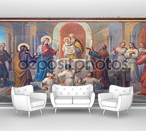 Вена, Австрия - 17 февраля 2014 года: Презентация маленький Иисус в храме фреска, Йозеф Кастнер из 1906-1911 годах в церкви кармелитов в dobling.