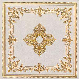 Квадратный узор золотом на белом