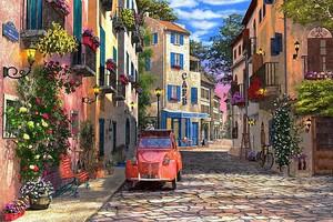 Красное авто на тихой улочке