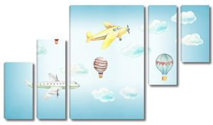 Самолетики в небе с воздушными шарами
