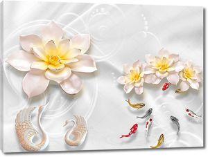 Розово-желтые цветы, белые керамические лебеди