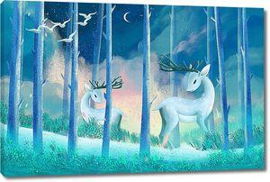 Оленята в голубом лесу