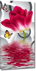 Бутон тюльпана из воды
