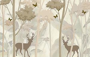 Олени и деревья на фоне листьев