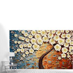 Цветущее дерево на пестром фоне