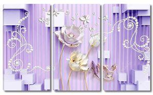 Кубики,  белые бумажные бабочки, жемчуг