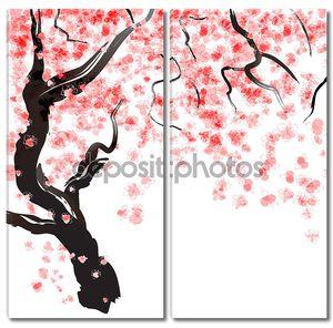Цветение сакуры. Акварель