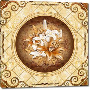Плитка  с лилиями в центре