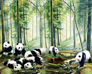 Панды в хвойном лесу