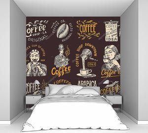 Логотип и эмблема кофейни. Какао-бобы, зерна, чашка напитка. Мужчина и девочка держат кружку. Набор винтажных ретро значков. Шаблоны для футболок, типографики или вывесок. Ручной рисунок .