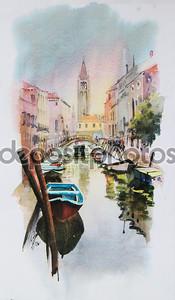 Вид на канал с лодки и зданий в Венеции