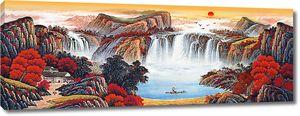 Цветущие горы с водопадом