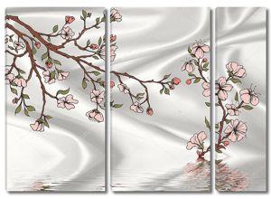 Ветка сакуры на шелковом фоне
