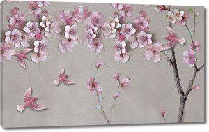Розовые птички с цветами сакуры