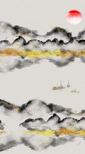 Серо-желтые силуэты гор
