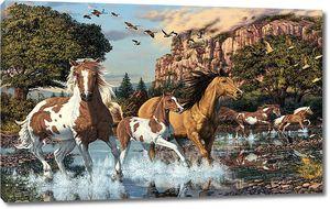 Лошади на фоне фэнтезийных гор