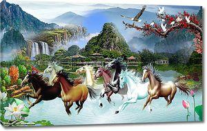 Кони на фоне китайской деревни в горах