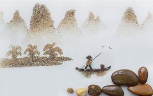 Картина из гальки и песка