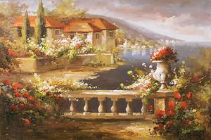 Вид с цветочного балкона на город