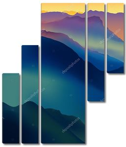 Пейзаж с красочной горы на заката или рассвета