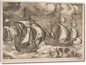 Брейгель Три каравеллы в бурю с Арионом на спине дельфина