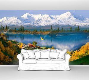 Заснеженные горы, озеро с лодкой