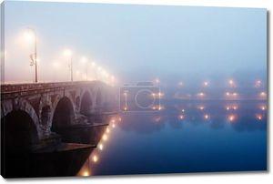 Зимний туман утром в Тулузе, Франция