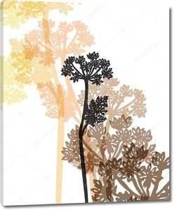 Силуэты Векторный цветы травы