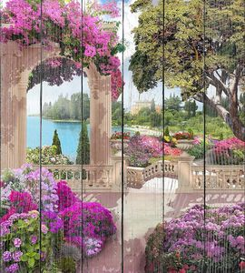 Парк с розовыми цветами