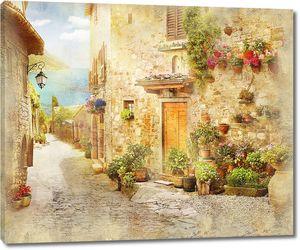 Солнечная фреска улицы с цветами