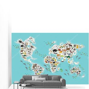 Карта мира для детей, животные со всего мира, белые материки и острова