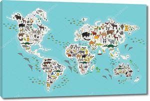 Карта мира для детей, животные со всего мира