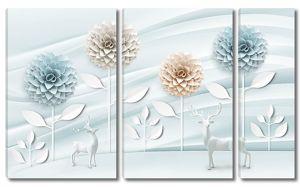 Олени со стилизованными георгинами