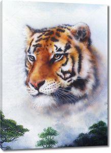 Голова тигра над деревьями