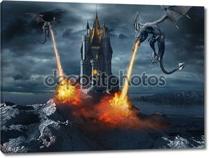 Драконы, атакуя замок
