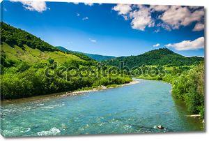 Дикая горная река ясно летний день