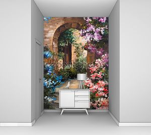 Картина маслом - летняя терраса, красочные цветы в саду, дом в Греции