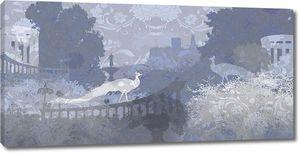 Абстрактный темный рисунок с птицами